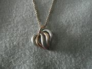 Schöner Herzanhänger Silber rosevergoldet
