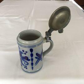 Glas, Porzellan antiquarisch - Bierkrug 1 mit Zinndeckel