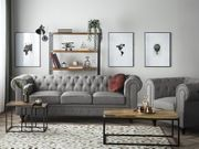 Sofa Set Polsterbezug hellgrau 4-Sitzer