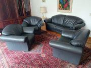 Ledergarnitur 3 Sessel 1 Sofa