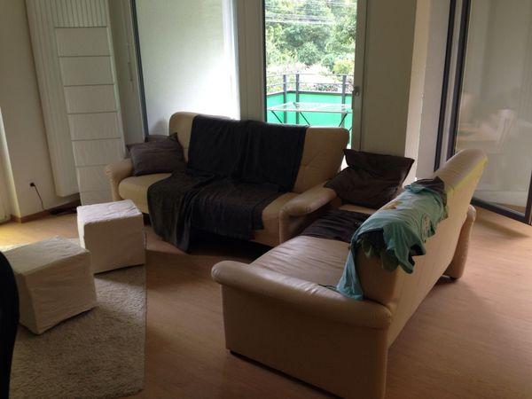 Bequeme Leder Couchgarnitur 3 2 1 In Beige In Kehl Polster Sessel