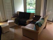 Bequeme Leder-Couchgarnitur 3-2-1 in beige