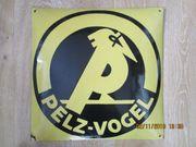 Altes Emailschild Pelz-Vogel