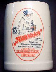 - alter kleiner Werbe Bierkrug HACKERBRÄU