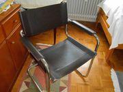 Freischwinger Stuhl mit Lederbespannung in