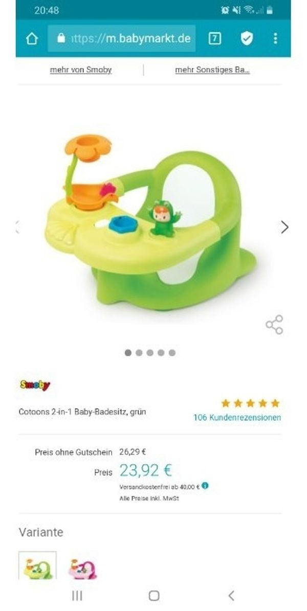 Badewannen Spielsitz