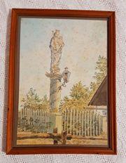Antik Aquarell Mariensäule Madonna Heilige