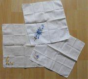3 zarte Taschentücher - weiß mit