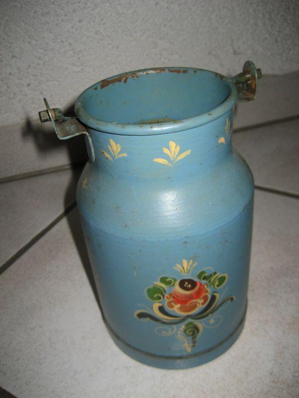 Uralte Bemalte Milchkanne Aus Metall 1 Liter