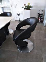 Echt Leder Esszimmer Stühle schwarz