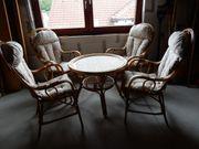 Rattan Korb Sitzgruppe 4 Sessel