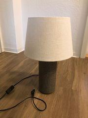 Stehlampe in beige mit Keramikfuß