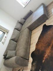 Wohnlandschaft Couch Sofa Wildleder grau