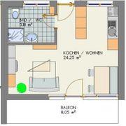 Schöne geschnittene ruhig gelegene 1-Zimmerwohnung