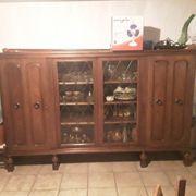 Wohnzimmerschrank mit Glasvitrine 4- türig