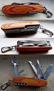 Neues 16in1 Multifunktions-Taschenmesser Edelstahl Echtholz-Griffschalen