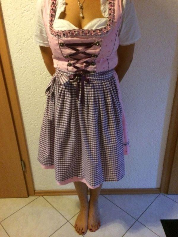 80948c134c48a3 Dirndl Country Life Rosa mit Lila Schürze + Bluse Weiß Versand in ...