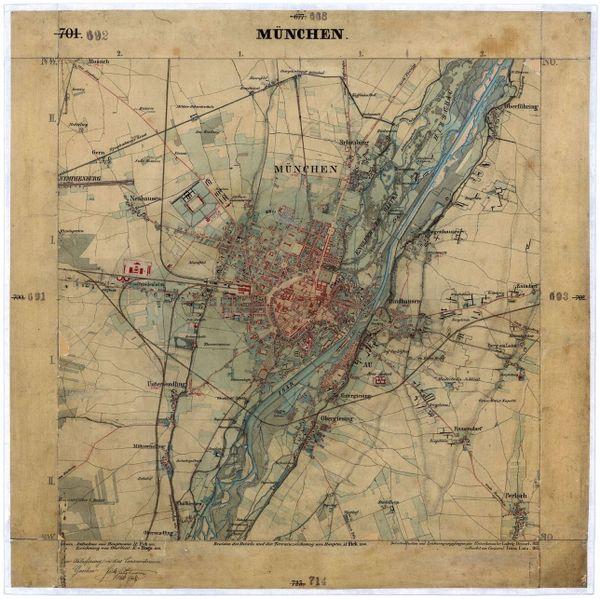 Historische Landkarten M 125 000 Von München Starnberg Und