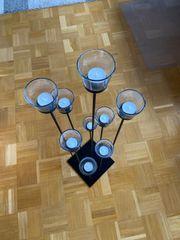 Teelichthalter schwarz Metall mit Glasaufsatz