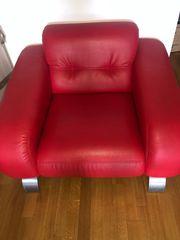 Rotes Echtleder Sofa und Sessel