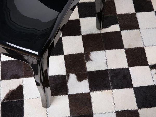 Teppich Leder schwarz-weiß ø 140