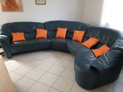 Leder Sofa blau