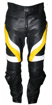 Motorradhose Rindsleder gelb schwarz