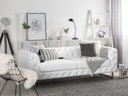 3-Sitzer Sofa Kunstleder weiß VISSLAND neu