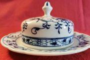 Zwiebelmuster antik Butterdose Käseglocke Teichert