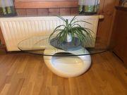 Couchtisch weiß mit Glasplatte