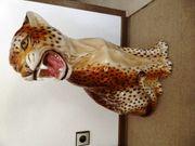 Porzellanleopard Porzellanfigur Dekofigur Leopard