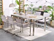 Gartenstuhl beige 6er Set Edelstahl