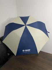 Regenschirm creme blau mit Holzgriff