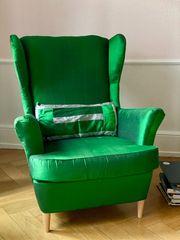 Ohrensessel Smaragdgrün Mit echte Seide