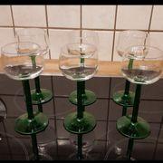 6 Weingläser mit grünem STIEL