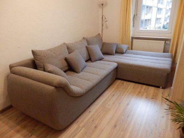 Ecksofa Couch mit Bettfunktion, grau meliert, 285x200 cm zu verkaufen