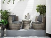 Gartenmöbel Set Rattan grau 2-Sitzer