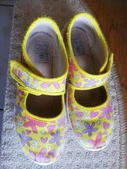 Hausschuhe gelb lila Gr 30