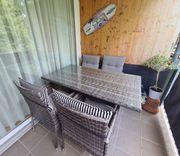 Balkon- Gartenmöbel Set 6Stühle Tisch