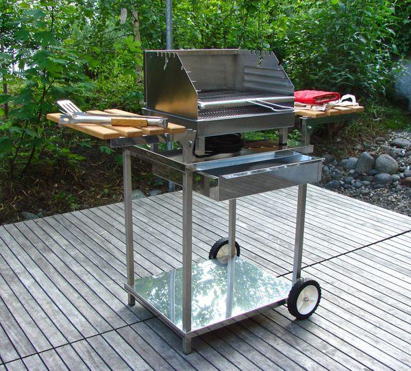 Holzkohlen-Elektro-Grill mit Design Grillwagen kaum