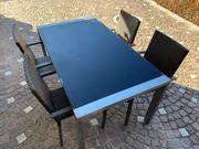 Gartentisch mit Glasplatte 4 Stühlen