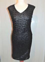Kleid mit Pailletten schwarz von