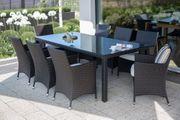 Gartenmöbel Set Rattan dunkelbraun Tisch