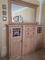 Pinienholzmöbel Brotschrank Highboard und Spiegel