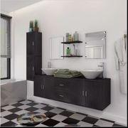 11-tlg Badmöbel-Set mit Waschbecken und