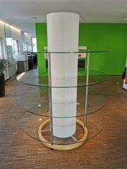 Glasregal rund beleuchtet 4 Böden