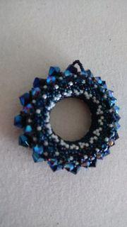 Kettenanhänger Kette Swarovskielemente blau Perlen
