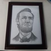 Originale Abraham Lincoln Zeichnung 1973