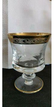Kristall Gläser mit Goldrand Murano