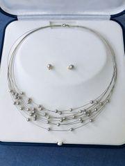 Weißgoldkette 585 mit silbergrauen Zuchtperlen